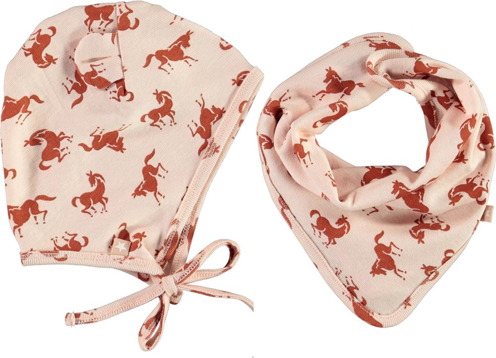 Nilo Hat and Bib Set - Mini Horse Jersey - Pink baby hat and bib with horses