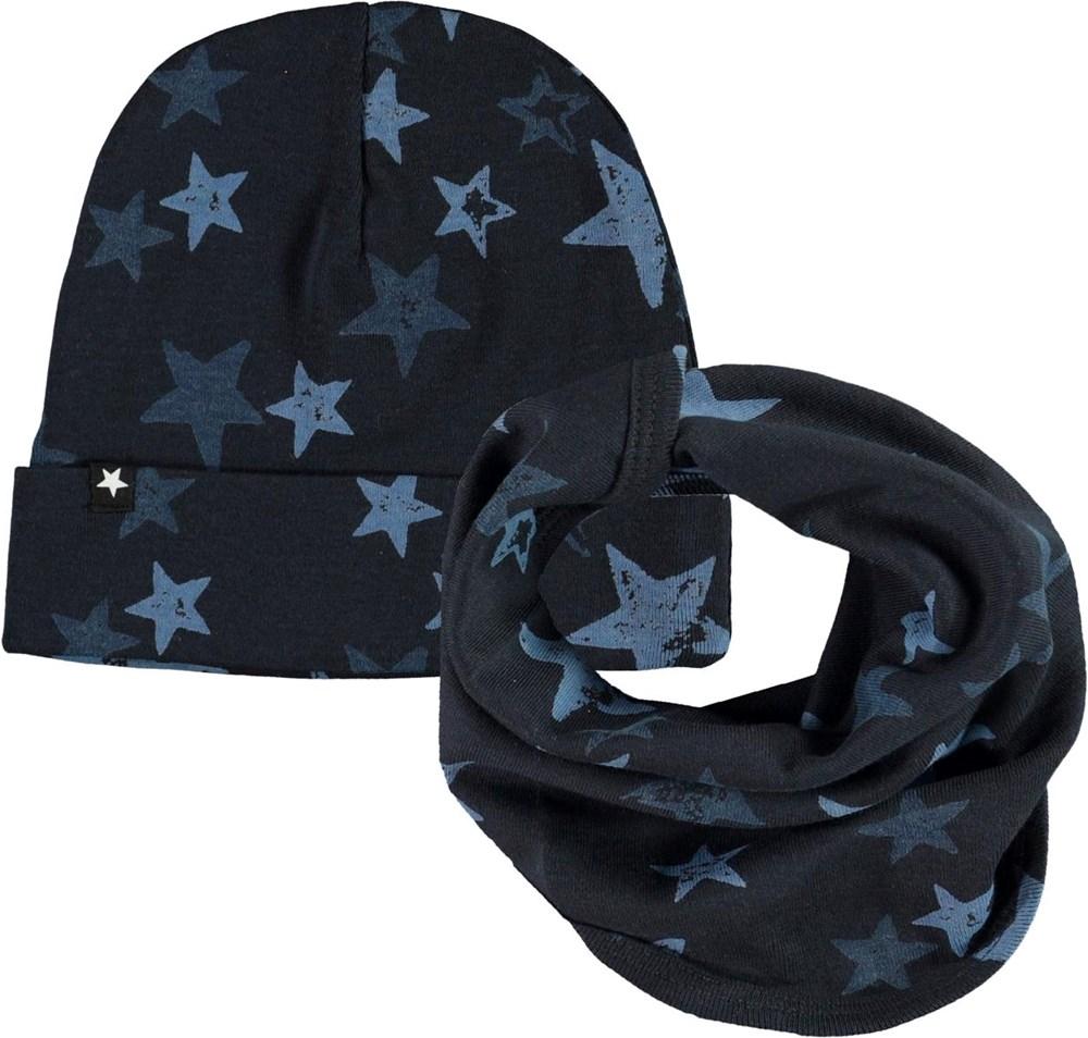Noe Hat and Bib Set - Stars - Baby hat and bib with star print