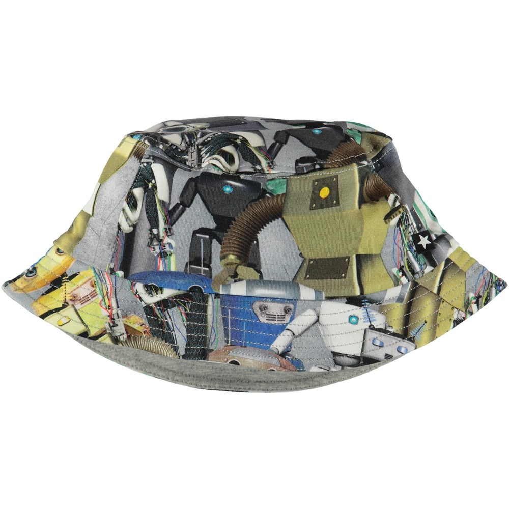 Nomly - Robots - Bucket hat with ruffle and robot print.