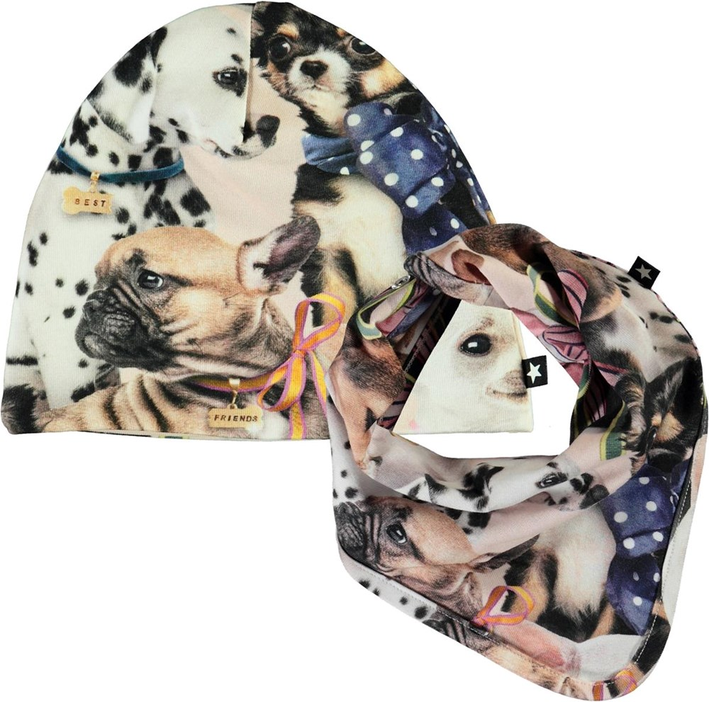 Noon Bib and Hat Set -  Puppy Love - Baby hat and bib with dog print