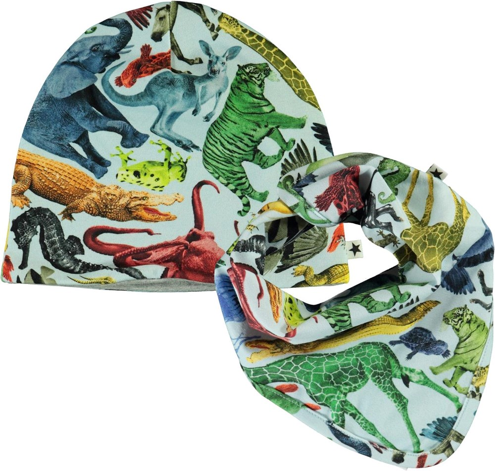 Noon Bib and Hat Set - Colourful Animals - Baby hat and bib with animal print