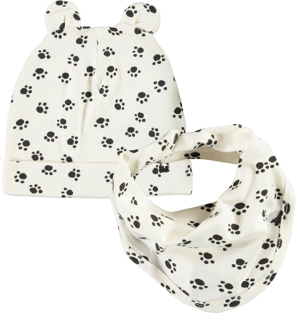 Noon Bib and Hat Set - Puppy Paws - Baby hat and bib with paw print