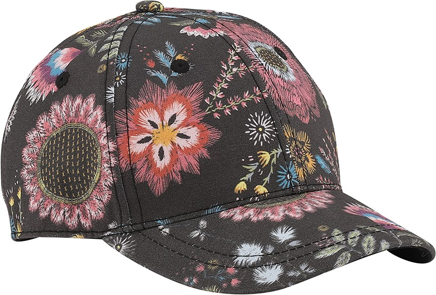 Sebastian - Floral Embroidery - Black baseball cap with digital embroidered flower print