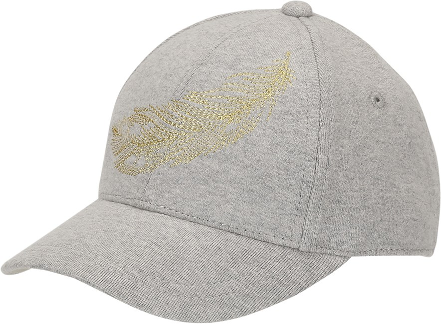 Sebastian - Grey Melange - Grey baseball cap with gold embroidery