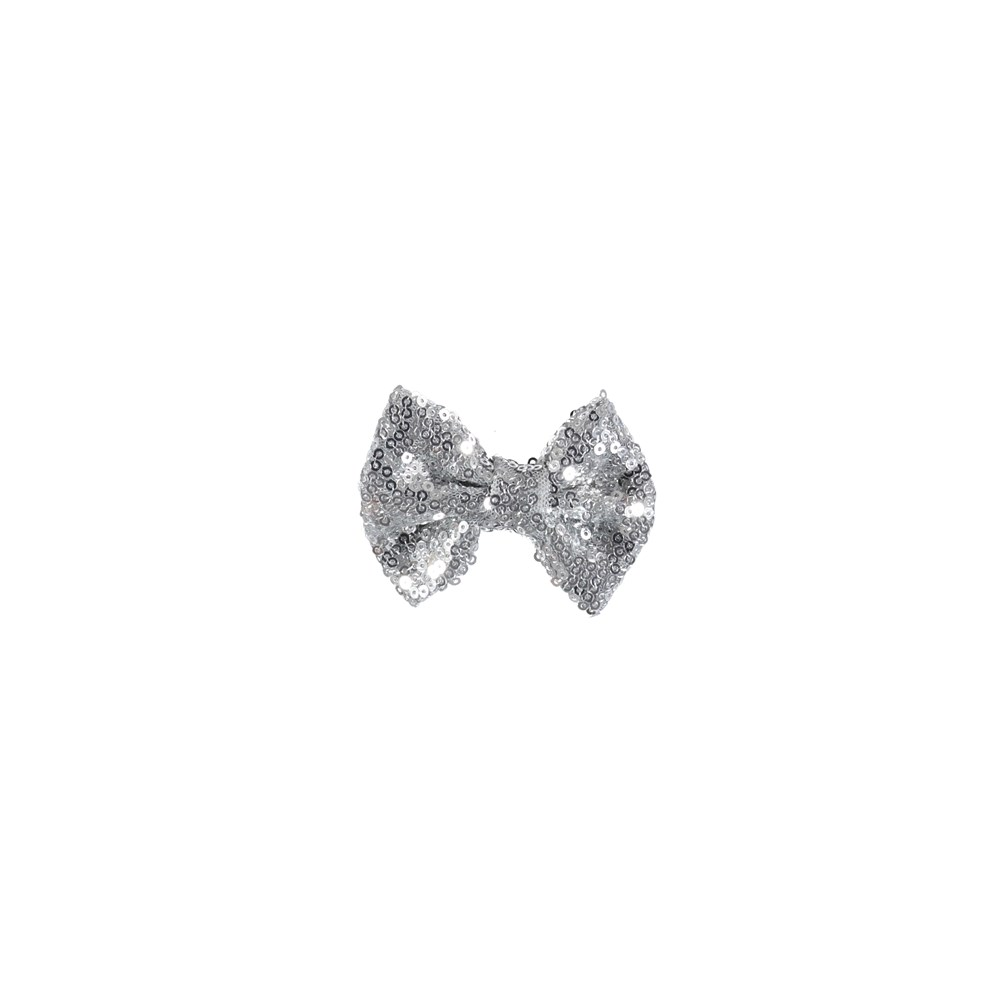 Sequin Bow Hair Clips - Silver - Bow barrette with silver coloured sequins