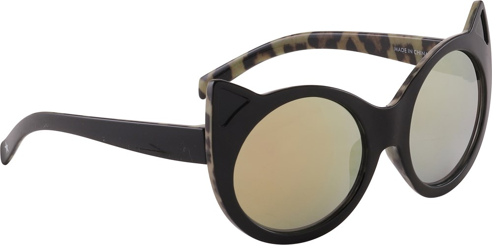 Shea - Very Black - Round cat sunglasses