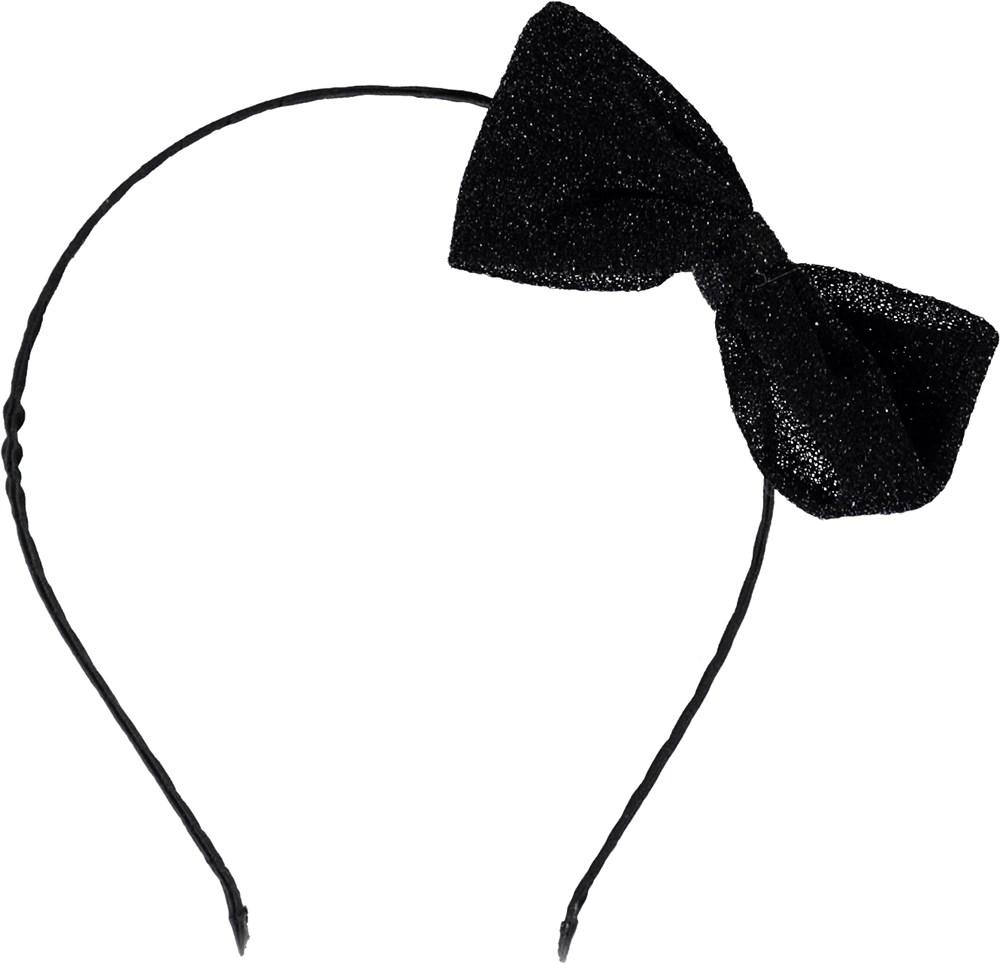 Shimmer hair band - Black - Headband with glitter bow.
