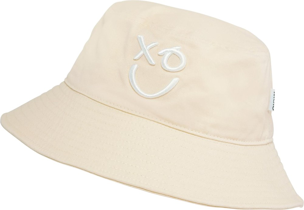 Sidse - Banana Crepe - Light yellow bucket hat with smiley face