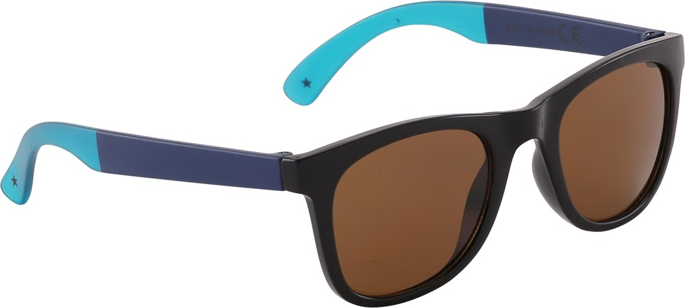 Smile - Very Black - Dark blue sunglasses with turquoise details
