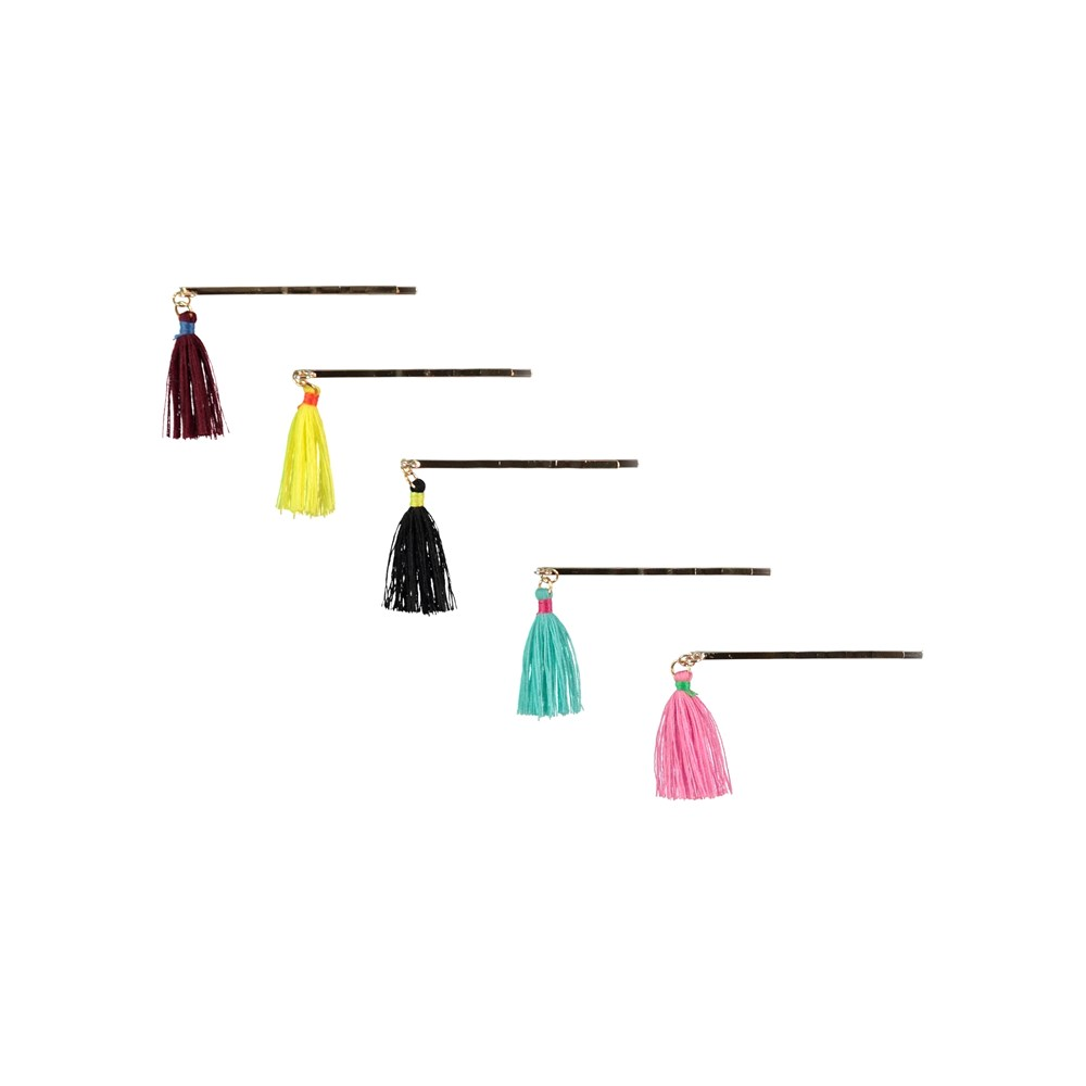 Tassled Hair Clips - Multi Color - Hair clips with tassles