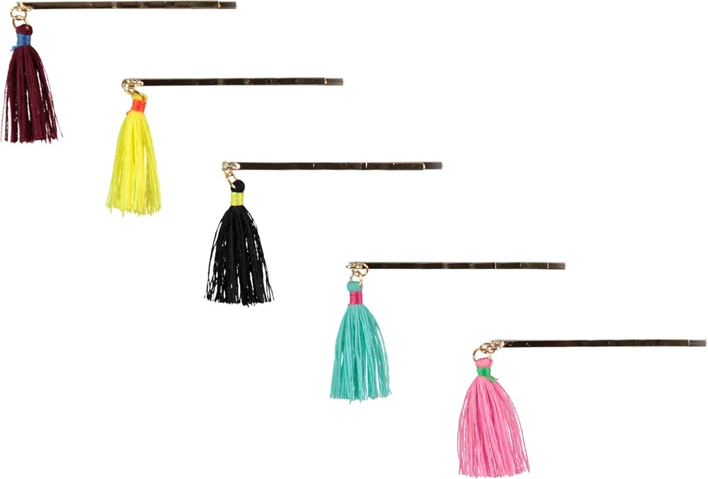 Tassled Hair Clips - Multi Color - Hair clips with tassles