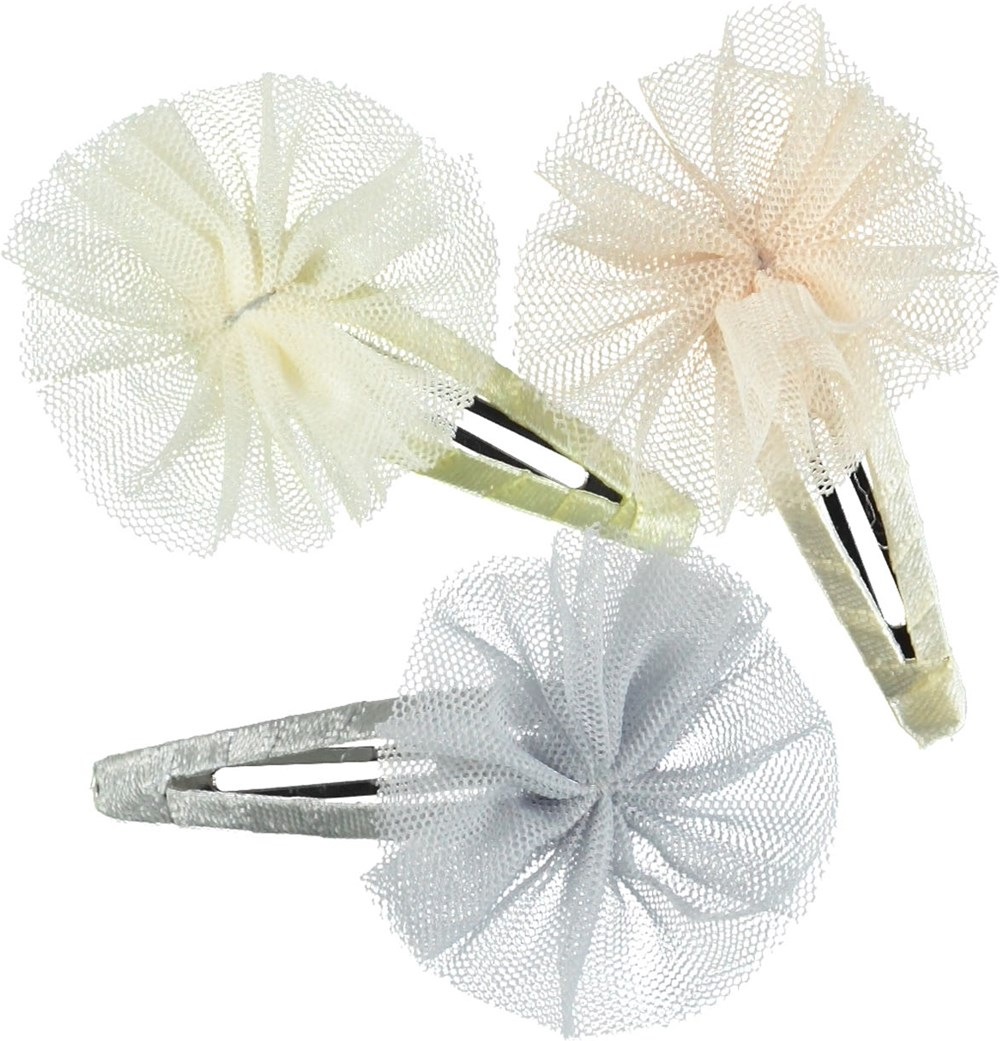 Tull pom pom Clips - Petal Blush - Hair clips with tulle