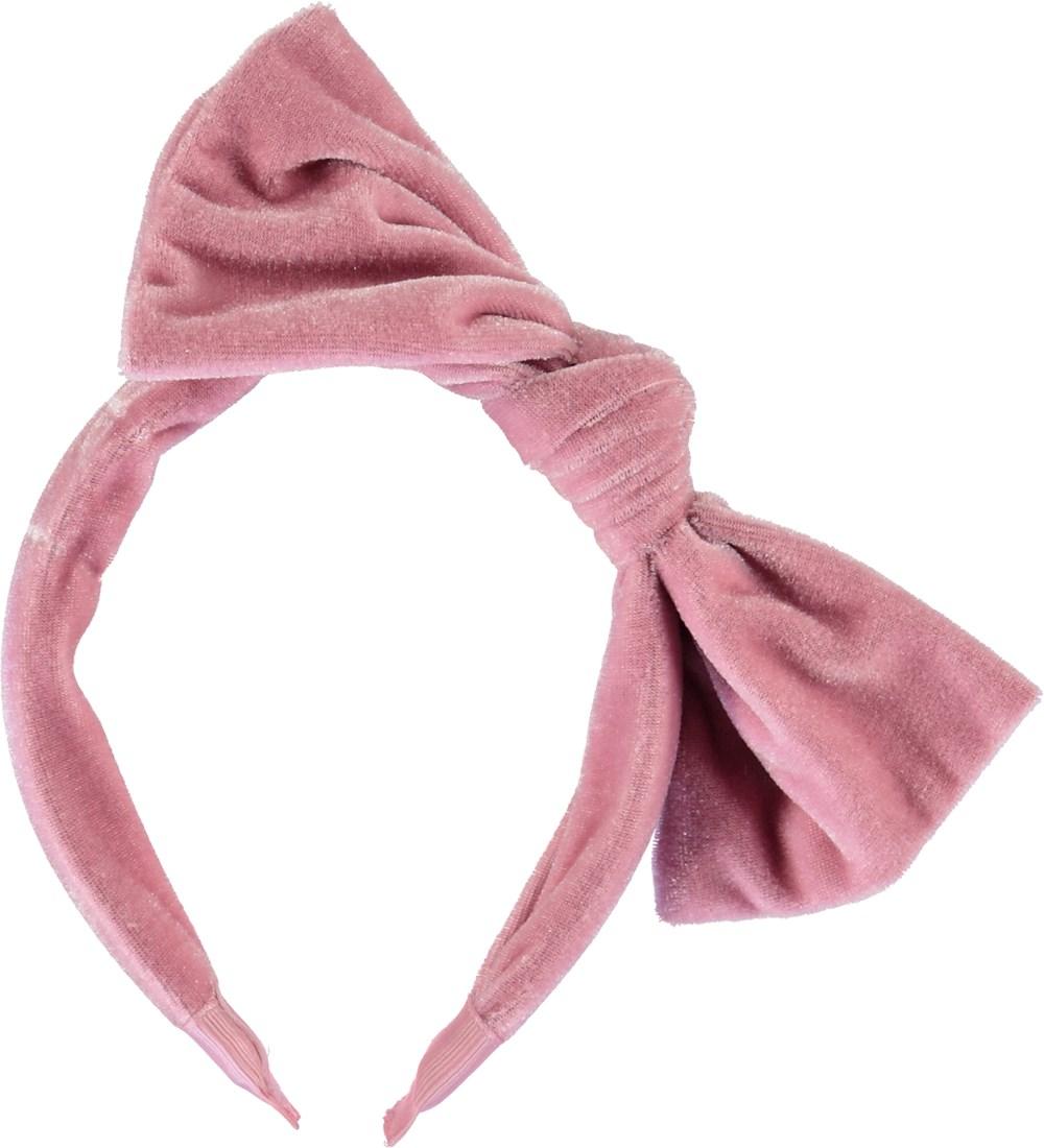 Velvet hairband - Cameo Rose - Rose velvet headband with bow.