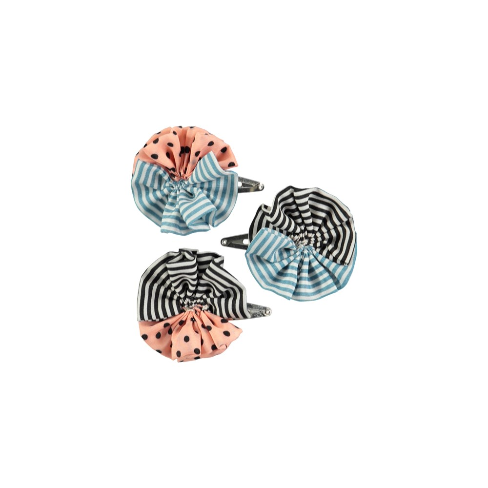 Woven circle clips - Mix - Hair barrettes with dots and stripes