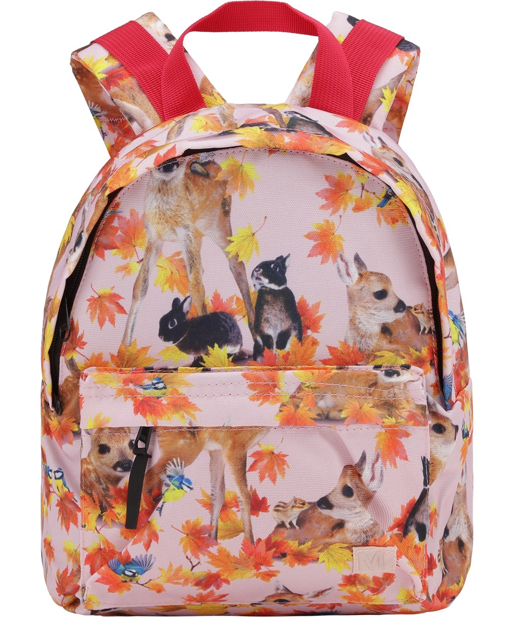 Backpack - Autumn Fawns - Pink recycled rucksack animal print