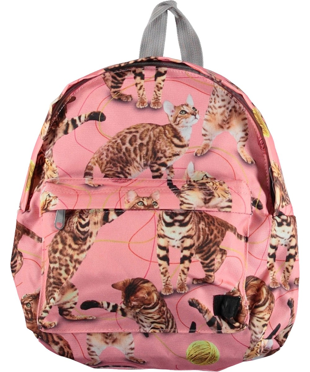 Backpack - Wannabe Leopard - Pink backpack with cats.