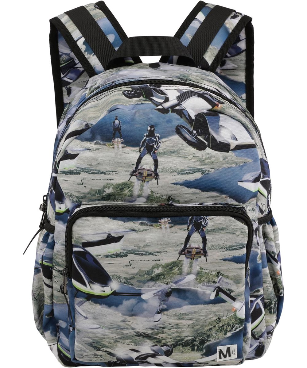 Big backpack - Up In The Air - Recycled backpack with futuristic print