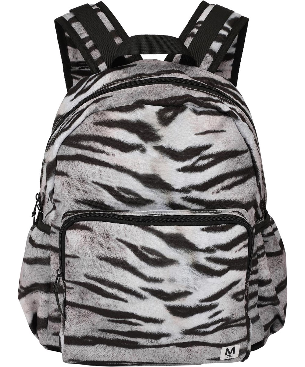 Big backpack - White Tiger - Recycled backpack tiger print
