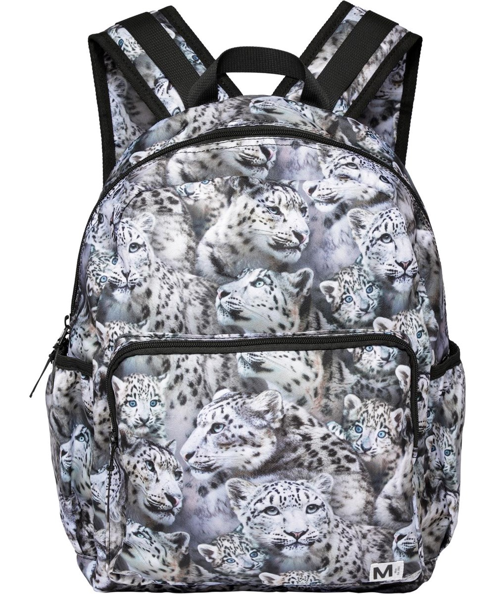 Big Backpack - Winter Leopards - Recycled rucksack with snow leopard print
