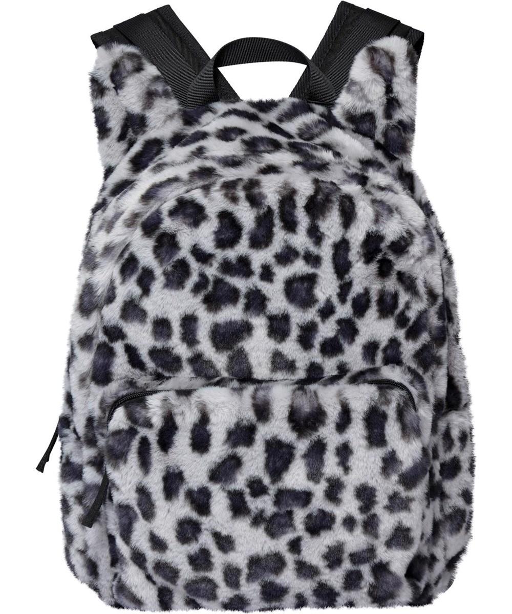 Furry Backpack - Snowy Leo Fur - Faux fur snow leopard rucksack