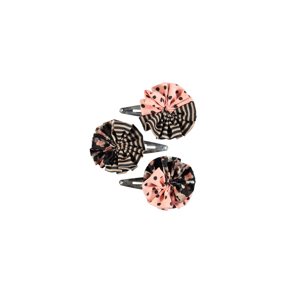 Woven Circle Clips - Mix - Lovely barrettes with stripes, dots and flowers