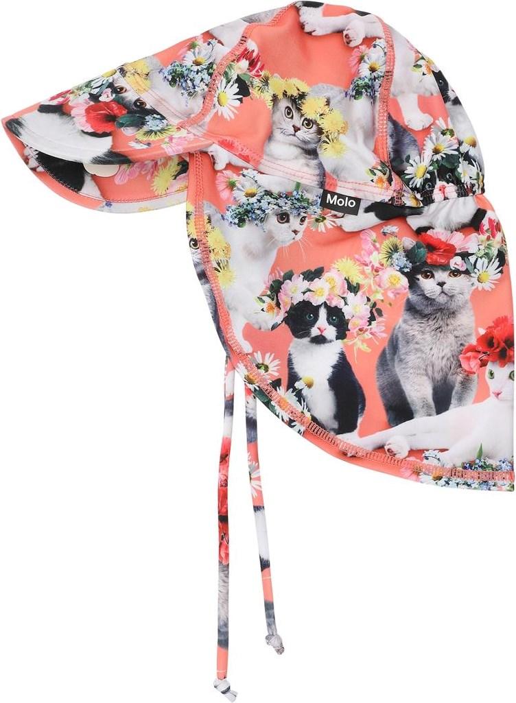 Nando - Flower Power Cats - UV baby solhat med katte og blomster