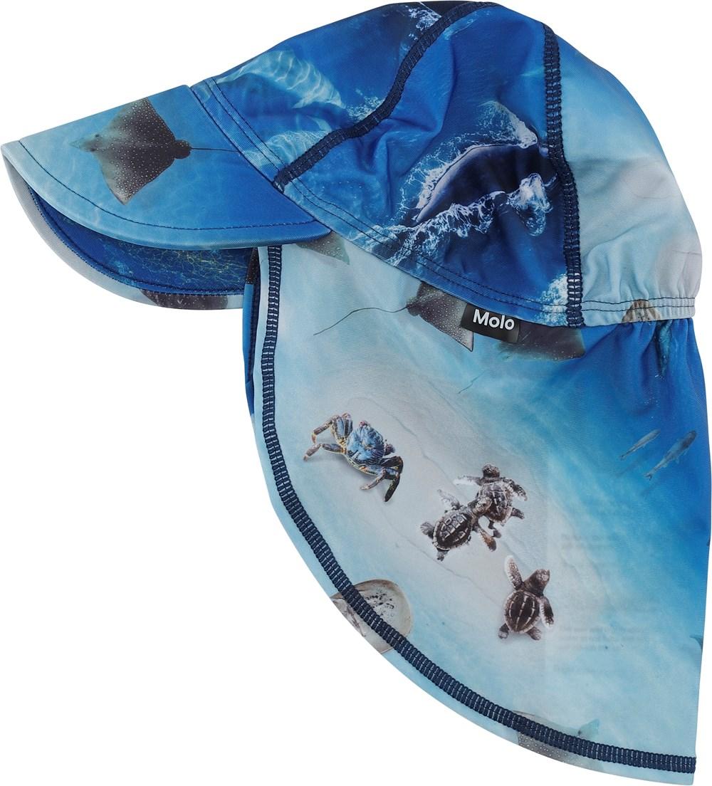 Nando - Above Ocean - Blue sunhat with ocean print