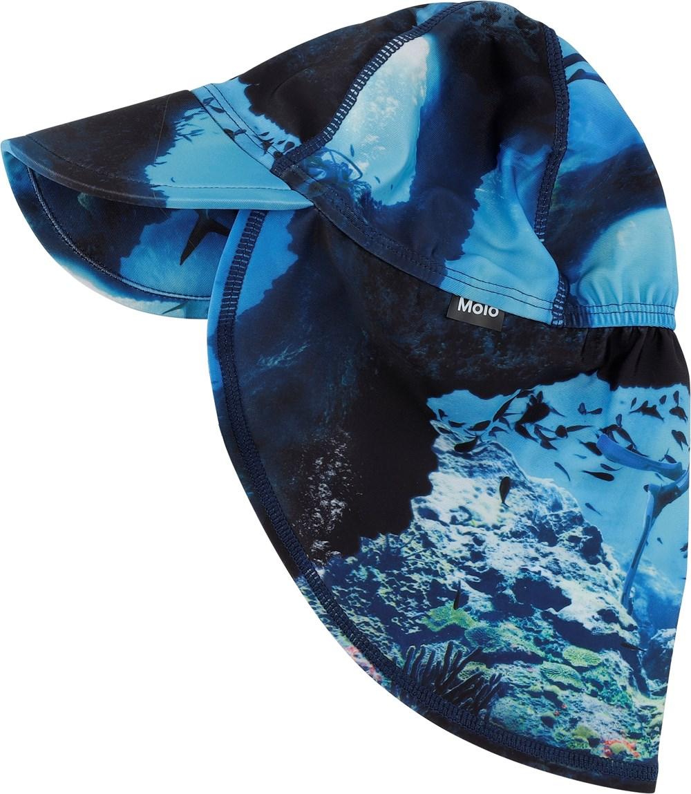 Nando - Cave Camo - Blue sunhat with fish print