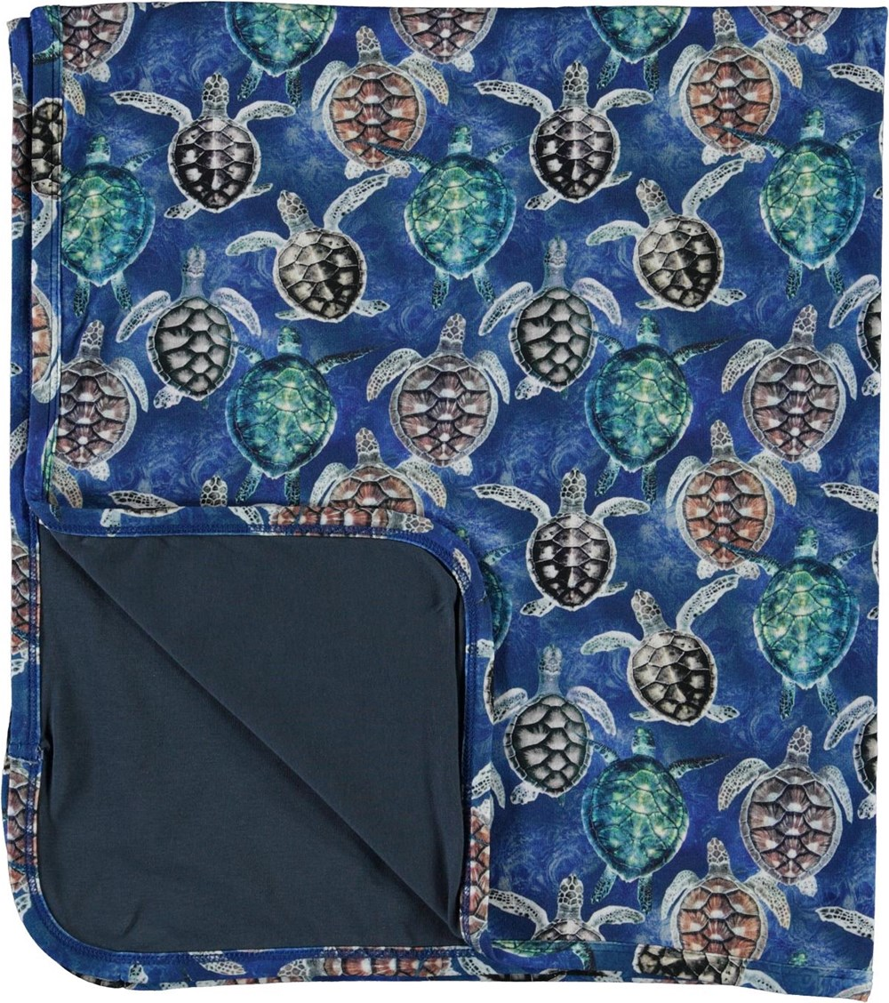 Niles - Mini Turtles - Soft blanket in blue with turtles