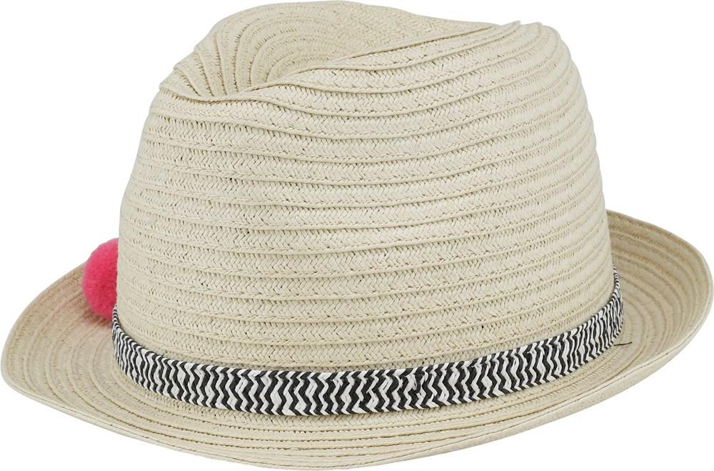 Straw Pompom - Straw - Straw hat with colourful pom poms