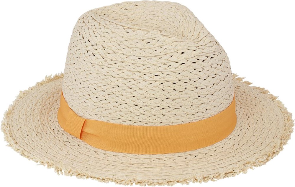 Sunhat - Straw - Light coloured straw hat with a yellow ribbon