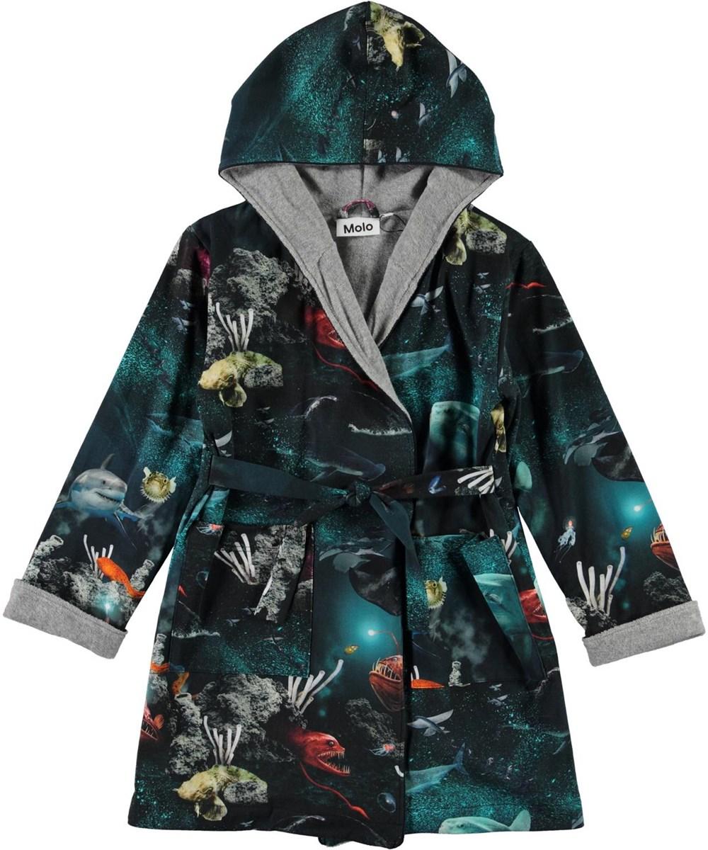 Way - Deep Sea - Organic blue robe with fish print