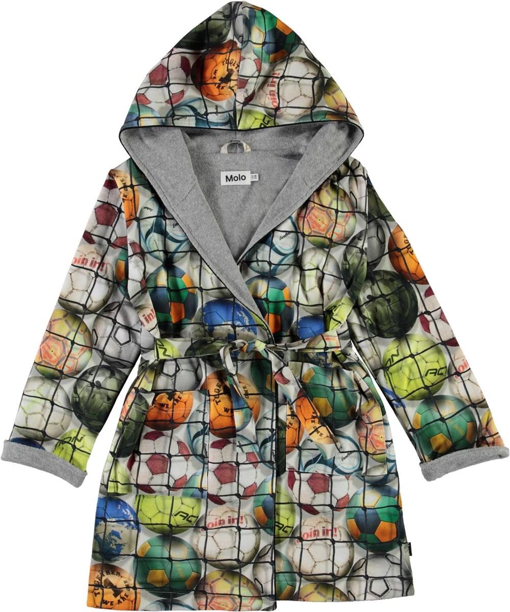Way - Footballs - Organic bathrobe with football print