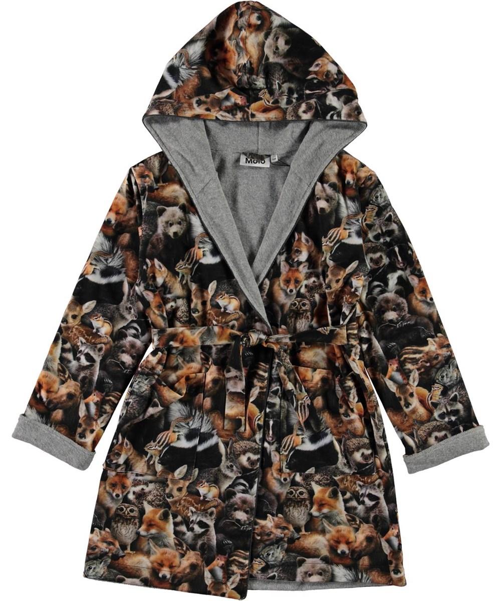 Way - Forest Animals - Organic bathrobe in animal print