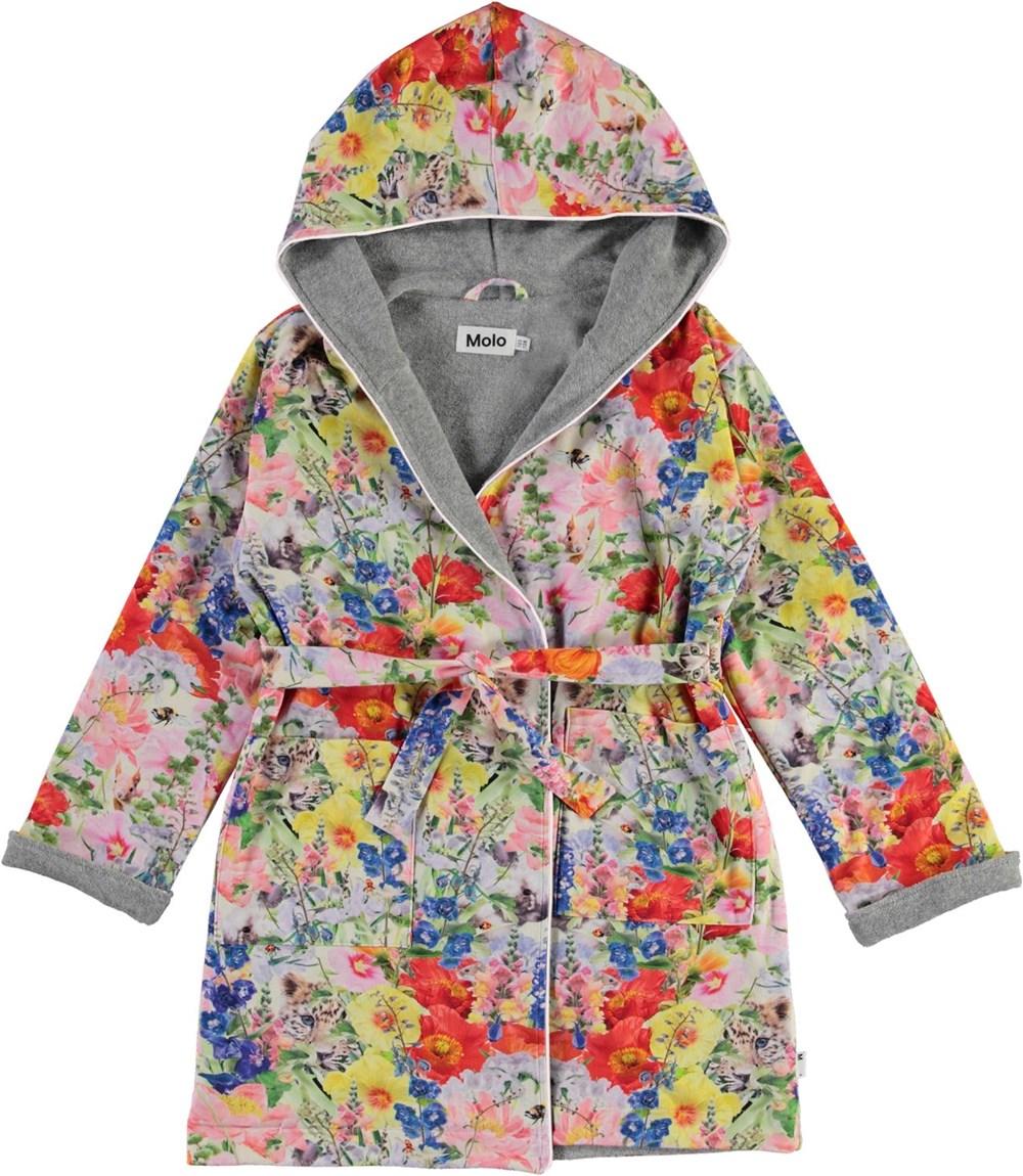 Way - Hide And Seek - Organic bathrobe with floral print