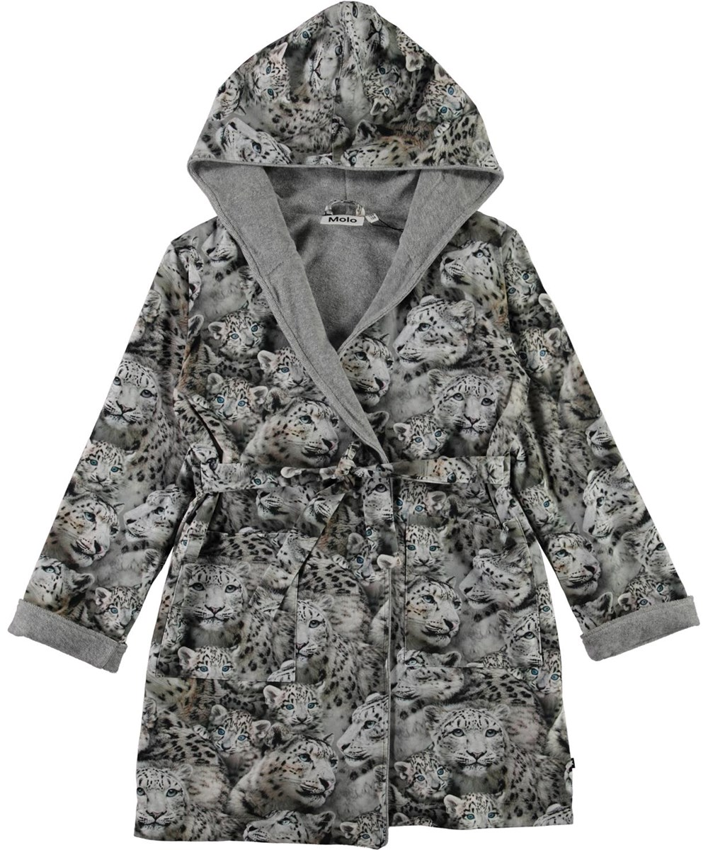 Way - Winter Leopards - Organic bathrobe with snow leopard print
