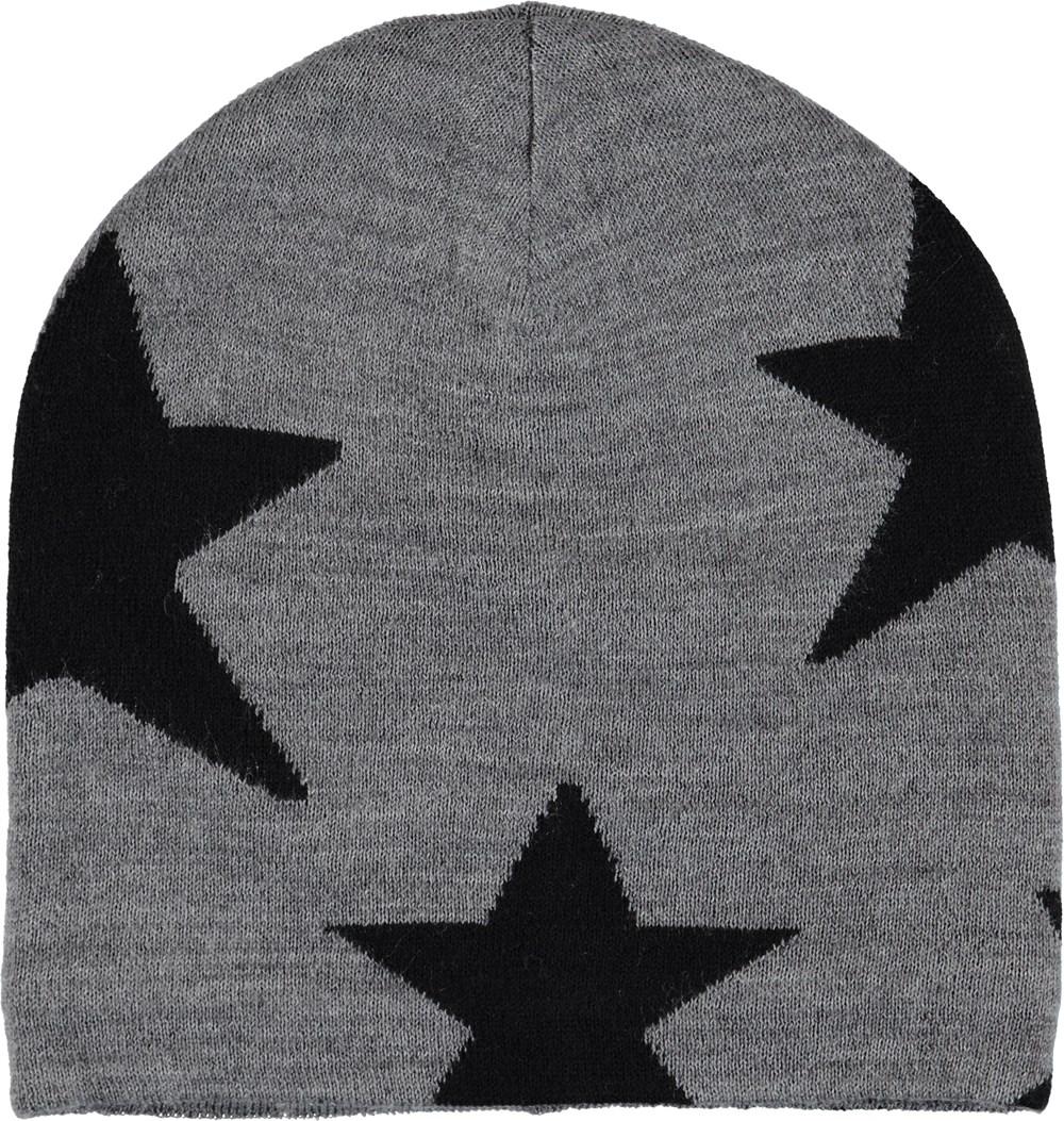 Colder - Grey Melange - Black knit hat with stars.