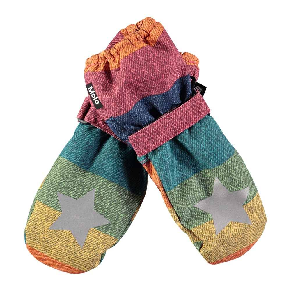 Igor - Denim Rainbow - Waterproof, breathable mittens with denim rainbow print