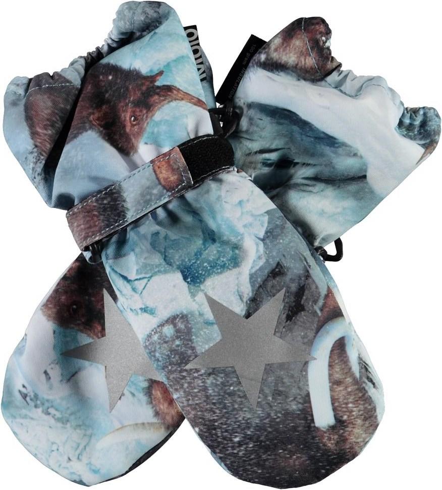 Igor - Mammoth - Light blue winter mittens with mammoths