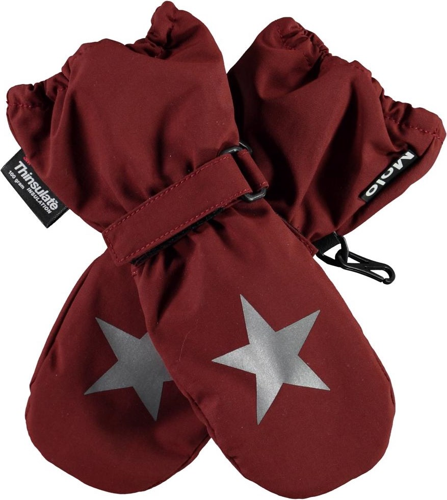 Igor - Rosewood - Recycled dark red winter mittens