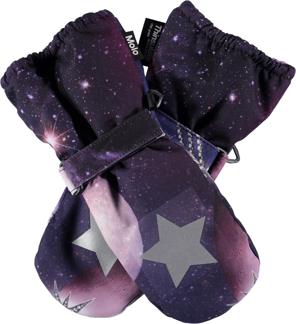 Igor - Shooting Stars - Purple mittens with shooting stars.