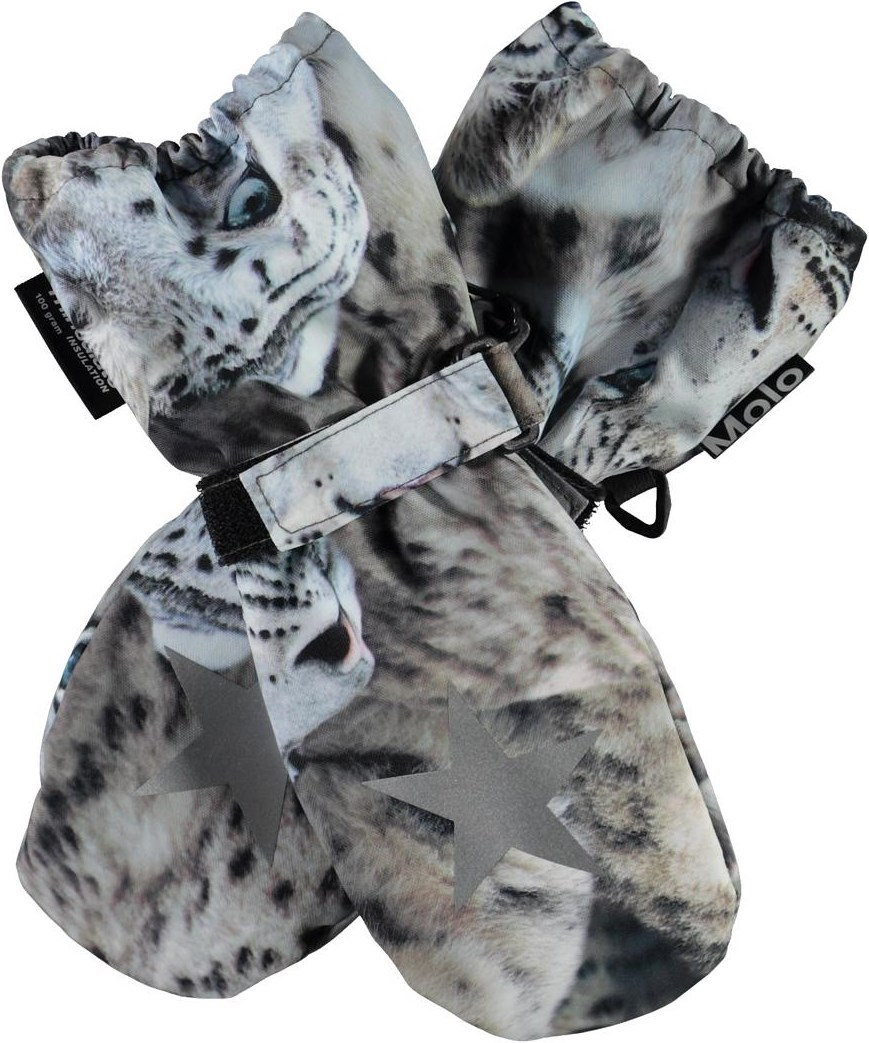 Igor - Snowy Leopards - Winter mittens with print of snow leopards