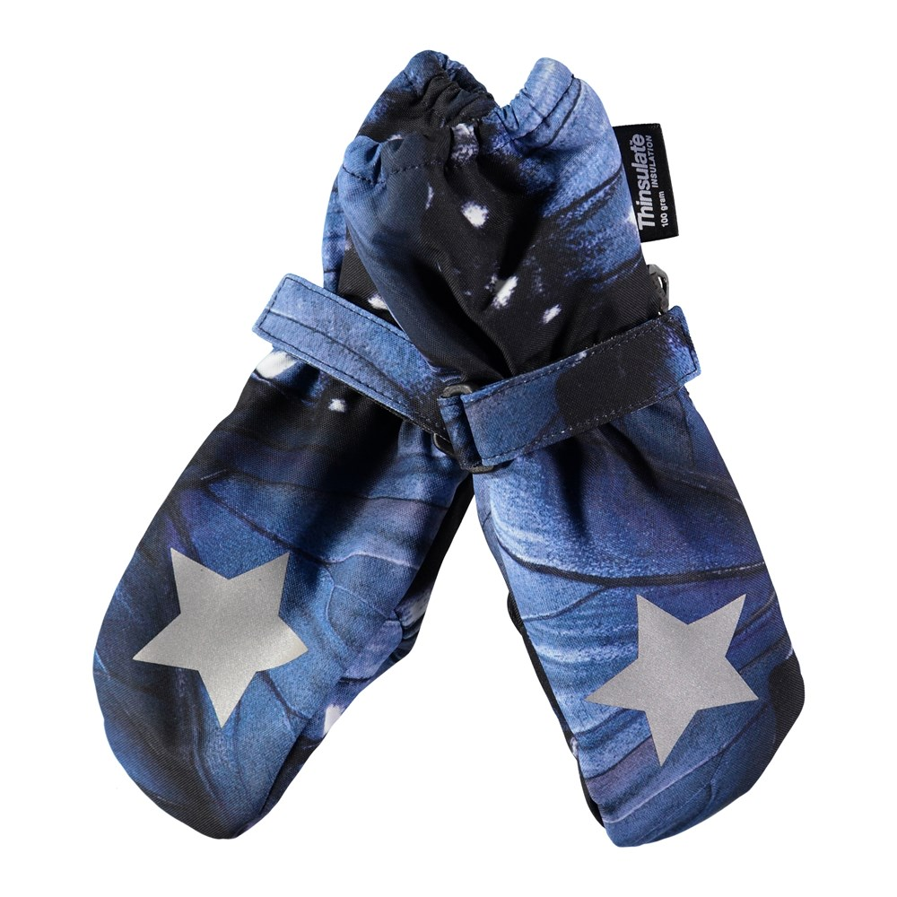 Igor - Velvet Wing - Waterproof, breathable mittens with digital blue wing print