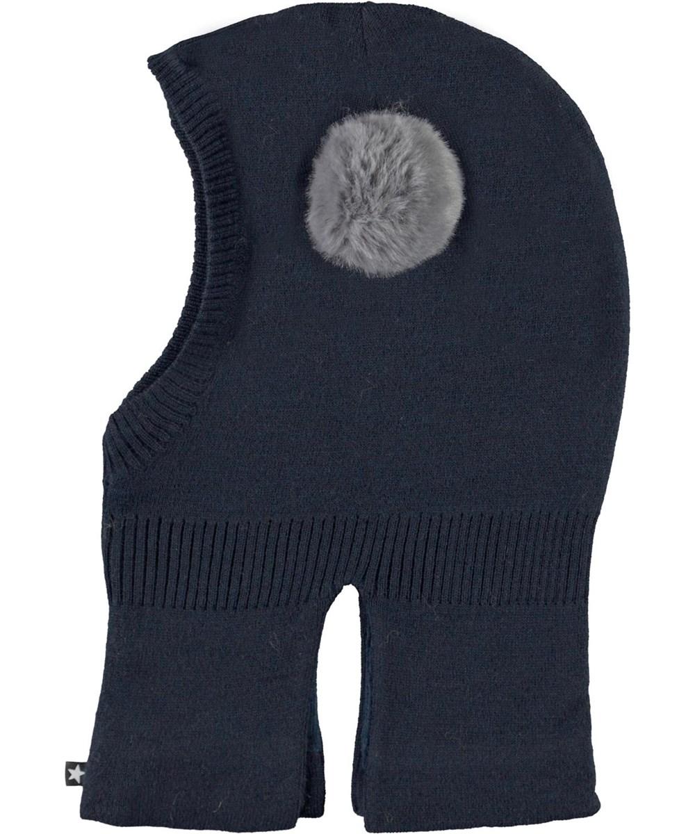 Kado - Carbon - Dark blue ski mask with fur pom pom