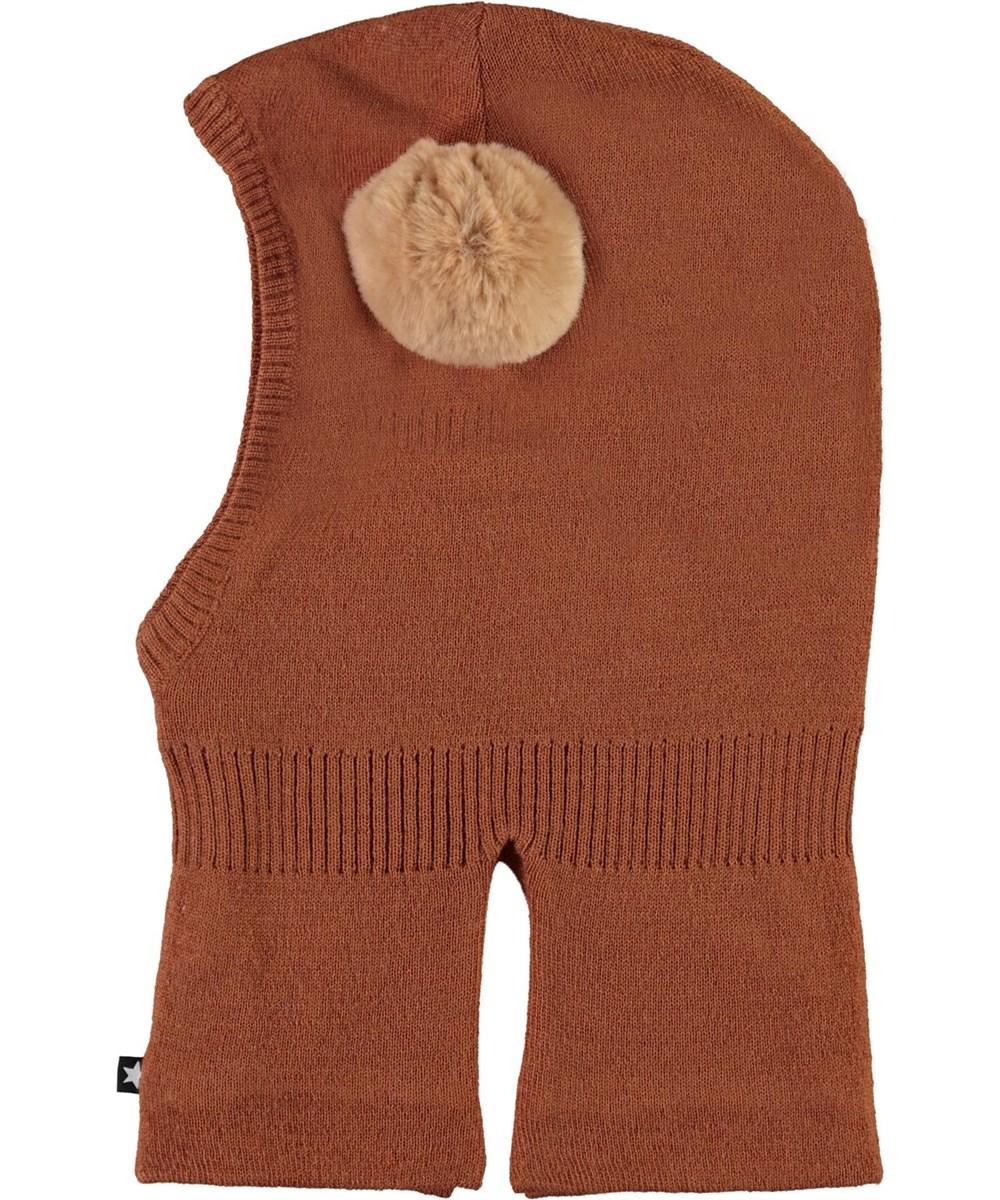 Kado - Deer - Brown ski mask with fur pom pom