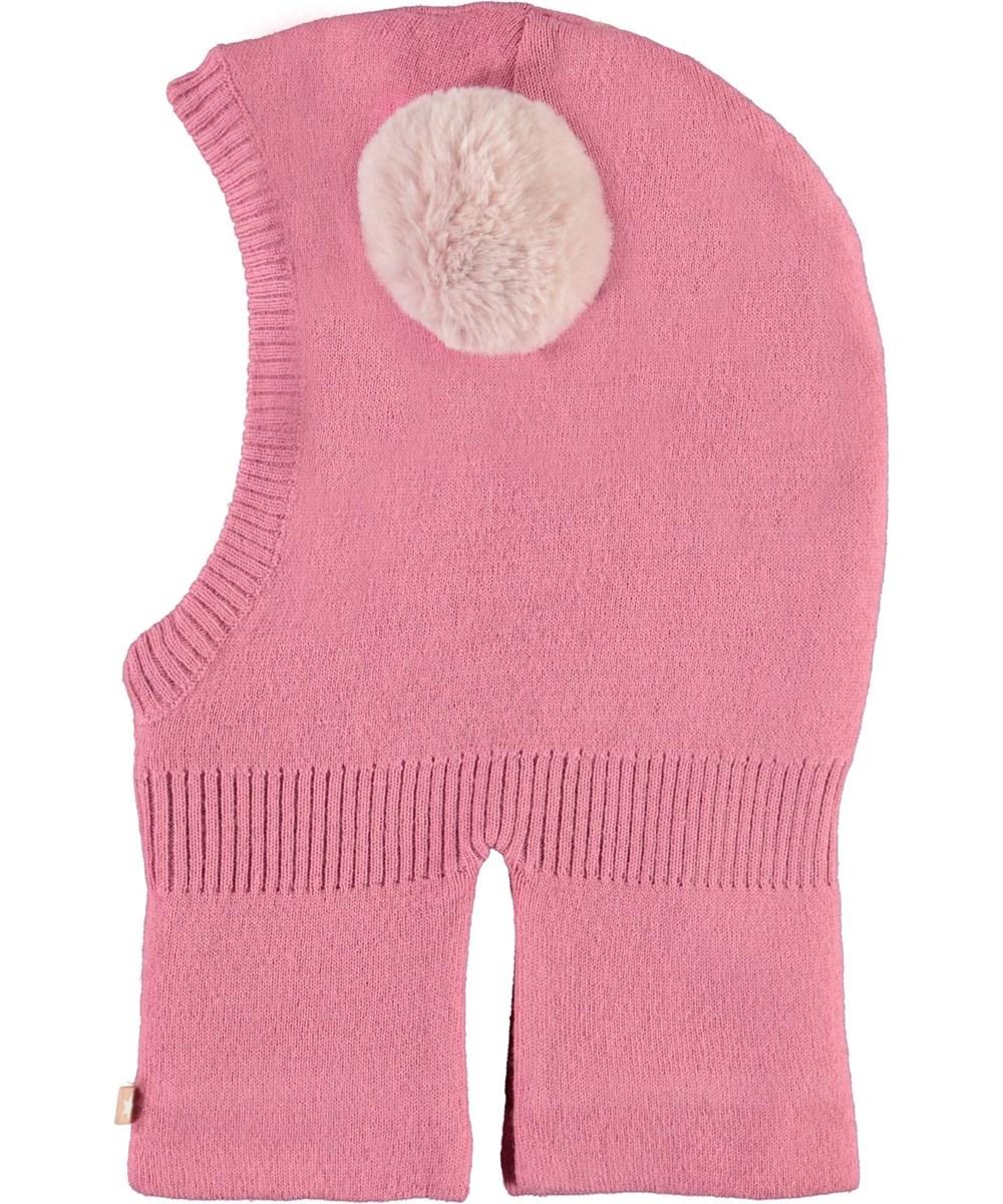 Kado - Maple - Pink ski mask with fur pom pom
