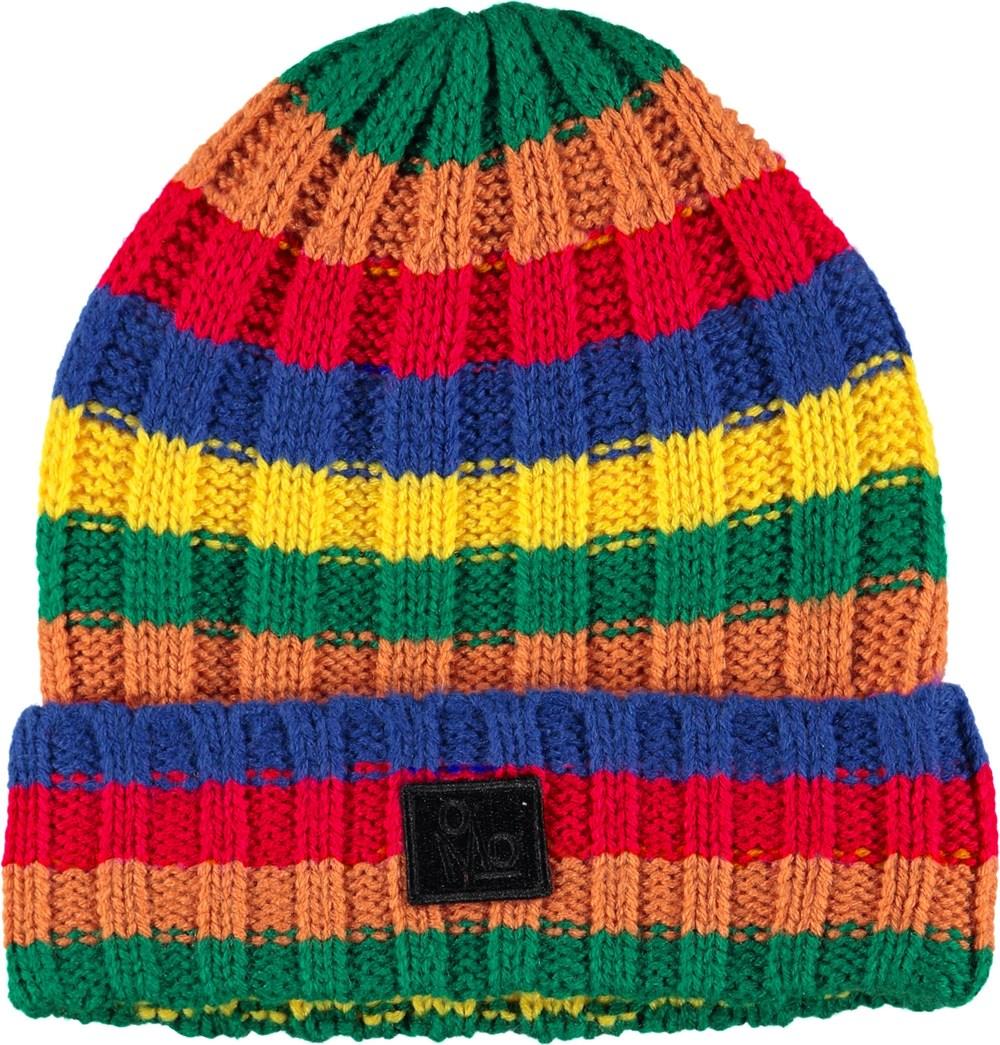 Kai - Knit Rainbow - Black striped hat in rib.