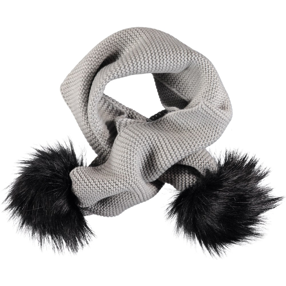 Kaisa - Grey Melange - Grey knit scarf with faux fur pom poms