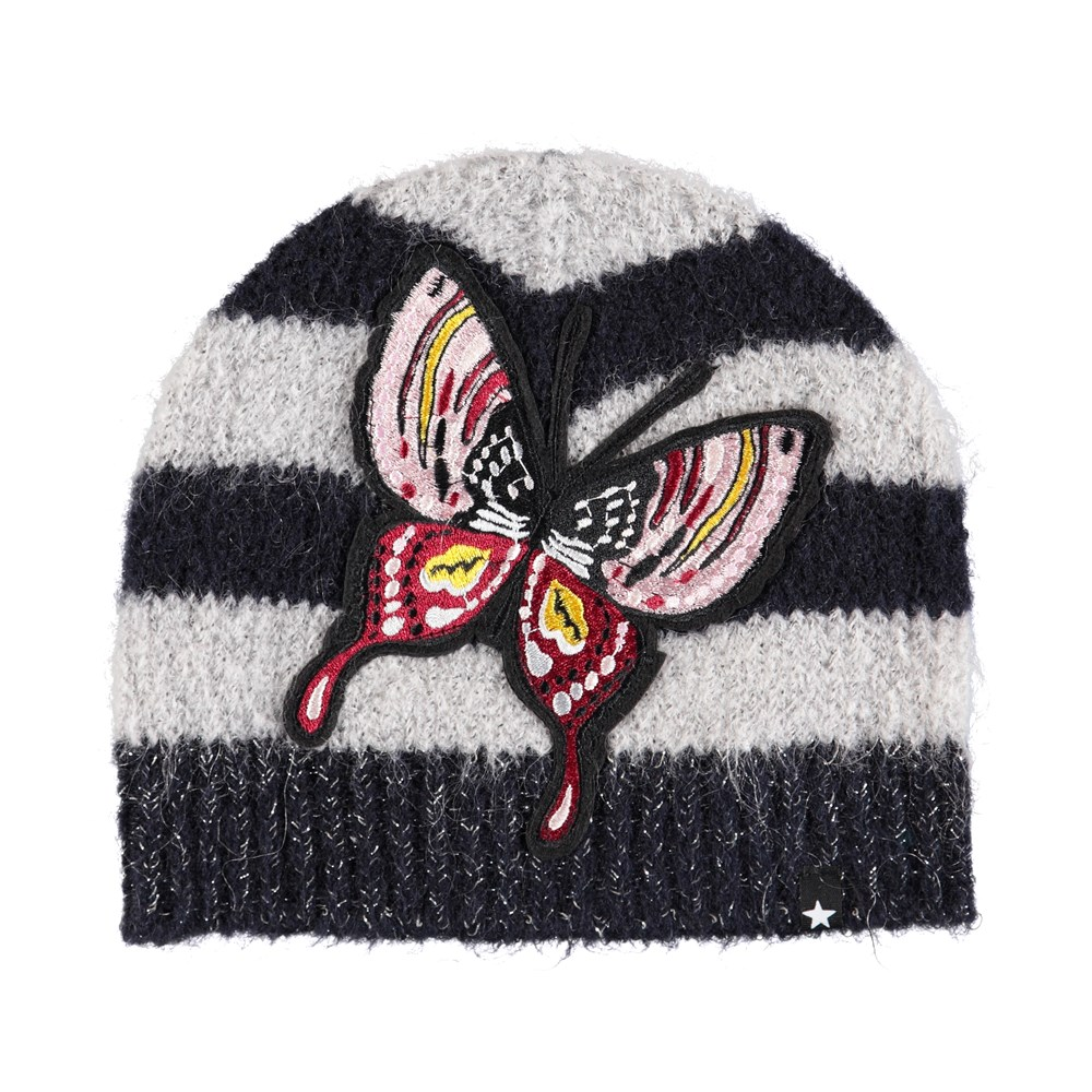 Kaisha - Evening Blue - Striped hat in wool blend with butterfly