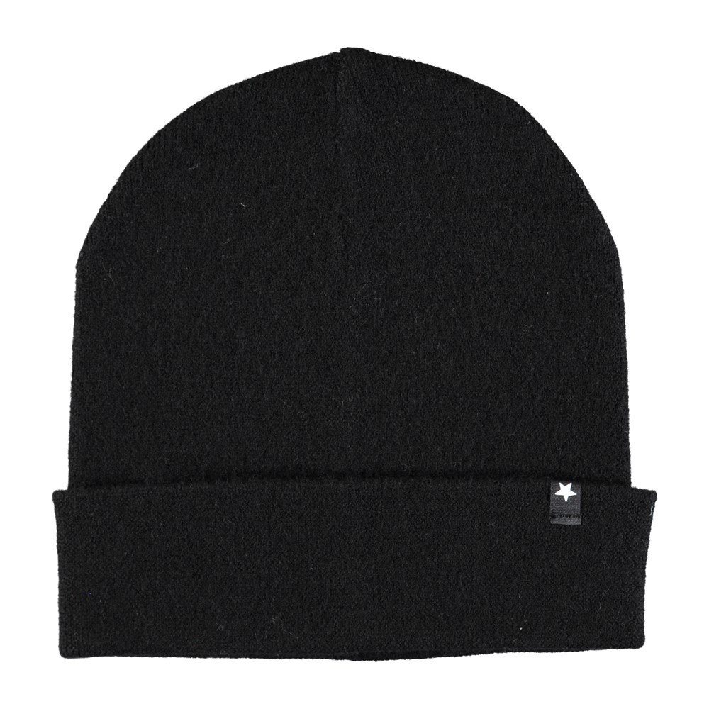 Kalani - Black - Black wool hat with roll up